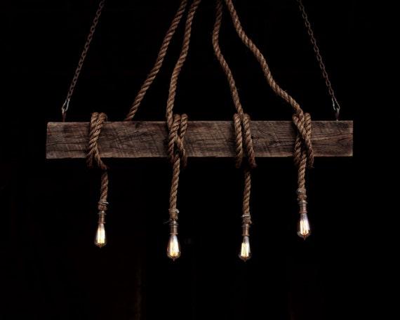 The Barn Beam Industrial Rope Light Barn Pendant Wood