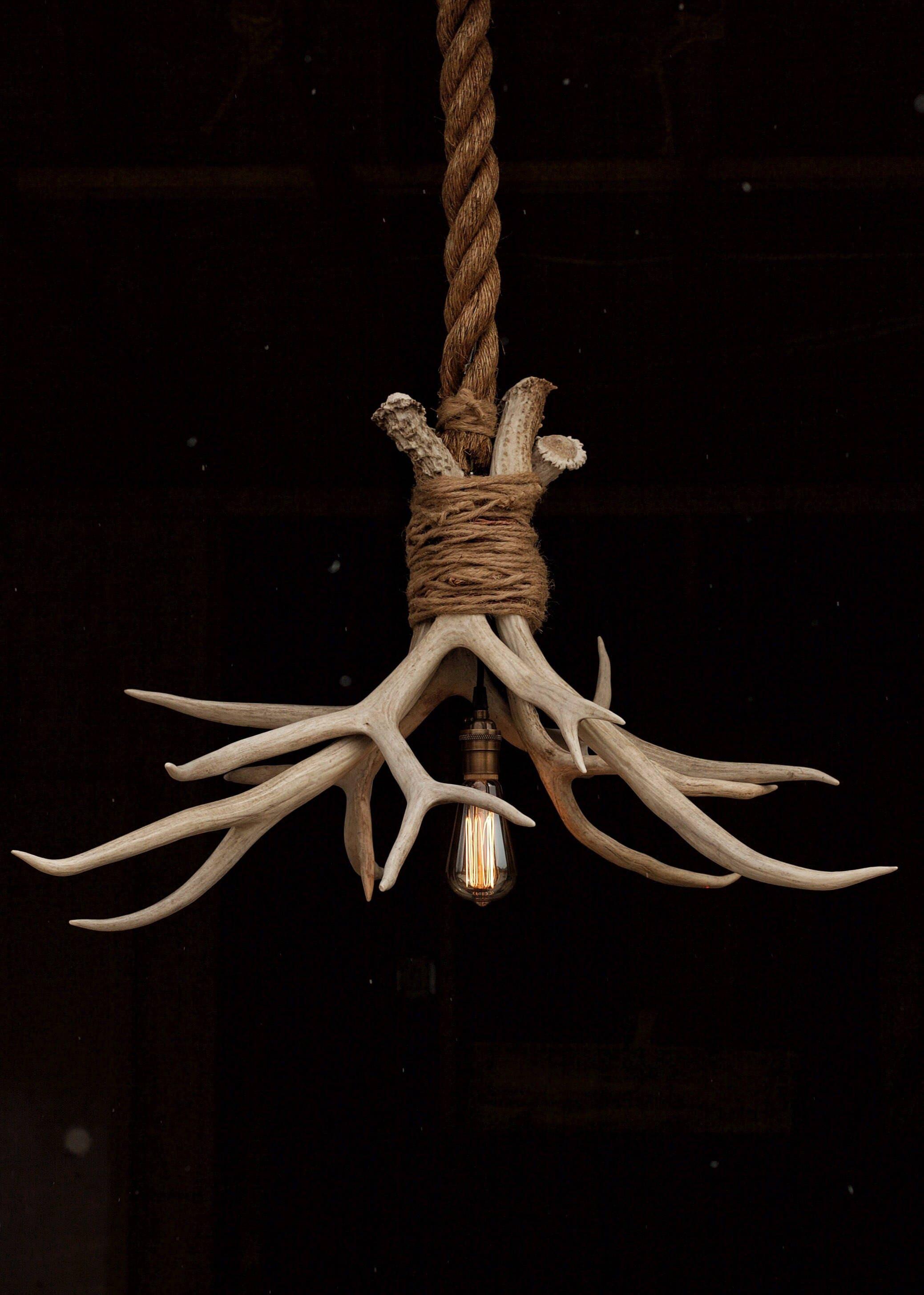 The Cabin Lit Chandelier Antler Shed Pendant Rope Light