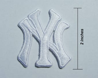 New York Yankees White Logo Embroidered Iron On Patch.