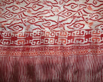 Wide scarf red and cream REF. L28