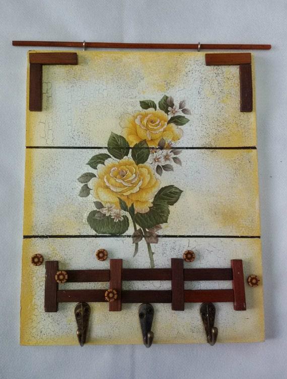 Wall Mount Key Holder, Key Holder, Key Hanger, Decorated Key  Holder, Floral Key Holder, Key Organizer,  Key Holder For Wall, 3 Hooks Holder