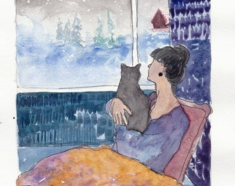 Cat lady and the snow PRINT