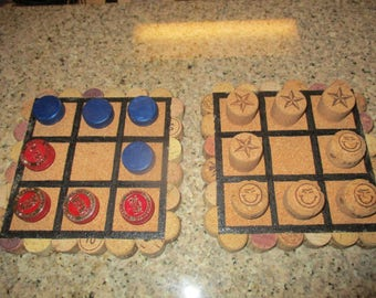 Handcrafted Tic-Tack-Toe Game - Used Wine/Champagne/Liqueurs Corks