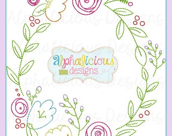 Classic Heirloom Vintage Floral Monogram Frame- Laurel Wreath Frame- Monogram Frame- Digitized Embroidery Design