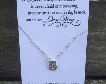 Bird sitting in a tree Necklace Dainty Owl Necklace