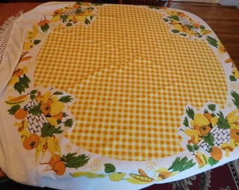 Vintage Linen Tablecloth Round Yellow Checkered Kitchen Tablecloth Fruit  Basket Vegetable Motif Round Tablecloth
