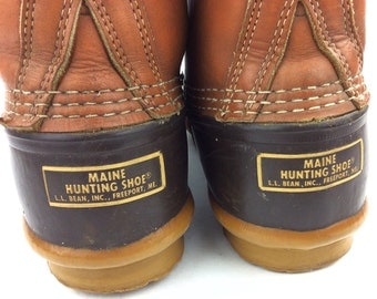 L.L. Bean Maine Hunting Shoe Rubber Leather Ankle Lace Up Duck Boots Freeport Maine USA Sz. 10 M