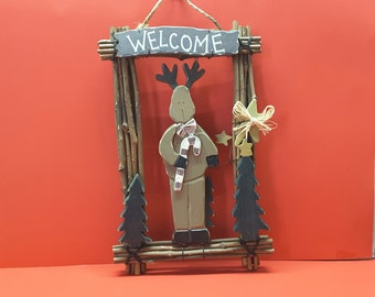 Wooden Reindeer Wall Decor  Home Decor  Holiday Decor  House Warming Gift  Wall Decor  Welcome Sign