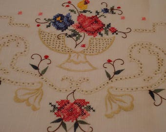 RESERVED for Jenny~~~Vintage, Cross Stiched White Tablecloth, 72 by 108 inch Oblong