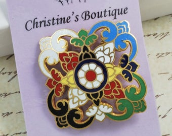 Vintage Cloisonne Colorful Pin Brooch