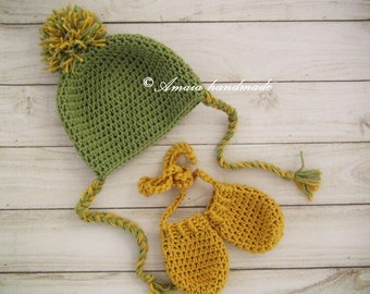 Baby hat and gloves, pom pom hat and gloves, crochet baby set, crochet baby hat, crochet baby gloves, baby hat and mittens, baby pom pom hat