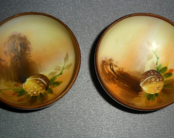 NIPPON Small Footed Bowls Hand-Painted Nut Acorn