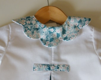 Pearl white cotton and LIBERTY Mitsi mentheboutons flower petal collar dress 18 months