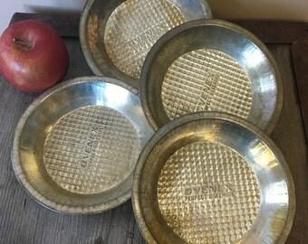 Vintage OVENEX 4 Tart or Individual Pie Tins or Plates, Waffle Pattern, by Ecko, Vintage OVENEX Bakeware 1945 to 65