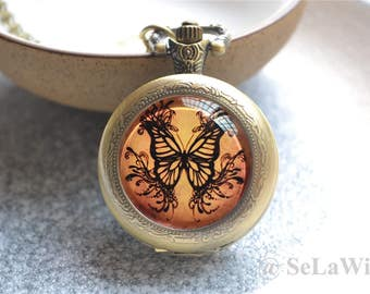 Butterfly Pocket Watch-Butterfly Watch Necklace- Vintage Photo Quartz Watch Jewelry- Cabochon Keychain/Pendant Necklace/Pocket Watch Gift