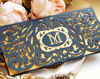 Wedding stationery invitation Art Deco Nouveau monogram Card Templates SVGfiles Lace fold (svg, dxf, ai, eps) papercut lasercut Cameo Cricut