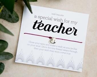 Special Teacher Gift, Wish Bracelet, teacher thank you, staff appreciation week, easy small teacher gift, science math art music teacher