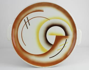 Art deco cake plate brown yellow Spritzdekor, vintage ceramic 30s, 40s, west German pottery, Mid Century