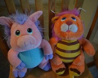 Vintage 80s 1984 1986 Wuzzles Piggypine Bumblelion Stuffed Plush Disney Hasbro Softies Lot of 2 Cartoon Animals Lion Bee Pig Porcupine