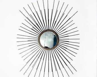 Stunning Mid Century Modern Inspired Sunburst Starburst Wall Mirror in Solid Brass Large 120cms high x 80cms wide.