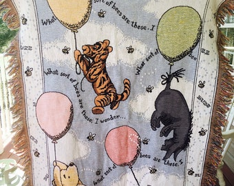 Classic Winnie the Pooh Wall Tapestry and or Blanket