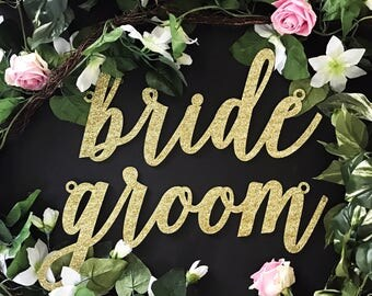"Bride & Groom Laser Cut Chair Signs, (Set of TWO) 13"" x 6"" Custom Bride Groom Seat Sign,Gold Wedding Decor Signs,Wood Sign,Acrylic Sign"
