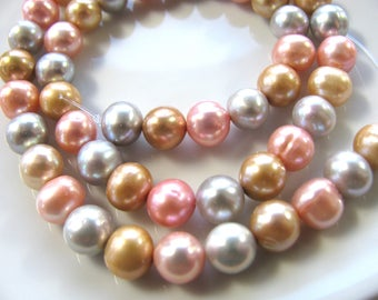 Fresh Water Pearls, 15 and 1 half inch, 52 pearls, 8mm, pink, gray, gold, Jewelry supply B-1477