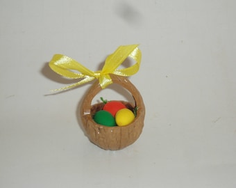 Walnut shell  miniature Easter Basket keepsake gift with 3 sculpty eggs