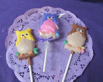 Owl Baby Shower Birthday 12 chocolate lollipops