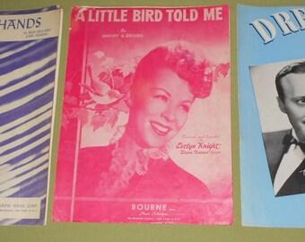1945 1948 1949 Sheet Music - 3 Pieces ~ Careless Hands ~ Little Bird Told Me ~ Dream