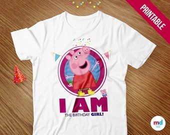 Peppa Pig Birthday Girl T-Shirt, Peppa Pig Birthday Party Theme Favor Decorations, Printables, Candy Bar, Iron On Transfer, INSTANT DOWNLOAD