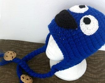 Cookie Monster Hat, Monster Beanie, Muppet, Toddler Sesame Street Costume, Newborn Crochet Hat, Crochet Costume, Halloween Costume, Saroogi