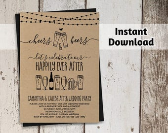 cheers beers after wedding party invitation template rustic brewery printable kraft paper