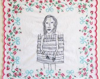 Overdressed (2016) machine embroidery handmade illustration drawing art girl cake