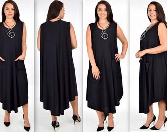 ComfyPlus Dress, Over size Dress, Plus Size  Dress, Lagenlook  Sleeveless Dress, Asymmetrical Dress Summer dress,For size 3XL/4XL/5XL