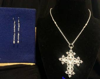 Silver and Pearl Cross Jewelry Set
