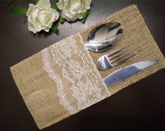Set of 10-Burlap Silverware Holders,Burlap table decoration,Rustic table decor, Wedding Table Set,Table Setting,Wedding Rustic Menu-011