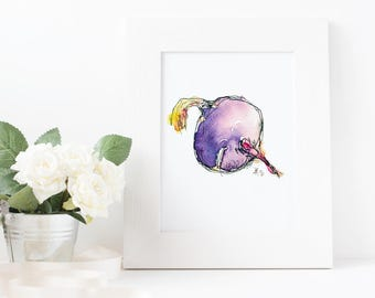Hand-Illustrated Food Print - Kohlrabi