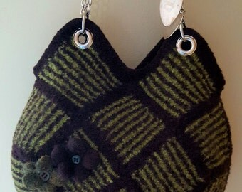 Wool felted purse  Hand knit Bag Tote Shoulder Bag,Fulled,Magnetic Closure, Purse Organizer Purchased pure handle, Leaf green and brown