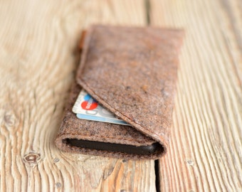 iPhone 5 case Felt case iPhone SE sleeve Handmade iPhone 5 sleeve Felt case with credit card slot iPhone pouch