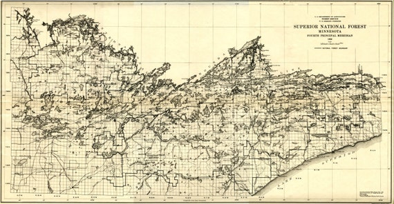 Superior National Forest Boundary Waters Historical Map - 1920 us map