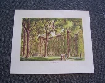 Nassau Hall Princeton Print Henry Gasser 1964 10.75x13