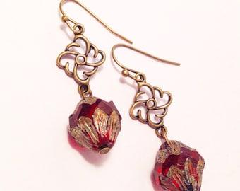 Rustic ruby red Czech glass dangle earrings