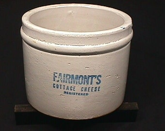 Antique Fairmont's Cottage Cheese Crock in Great Original Condition as-is