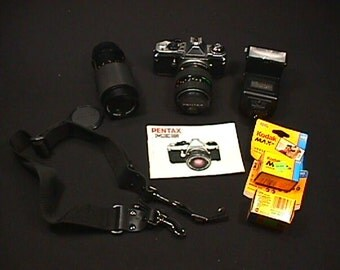 Pentax ME Super 35 mm Camera with Lots of Extras Ready to Use