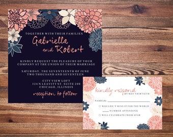 Wedding or bridal shower Invitation with Dahlias