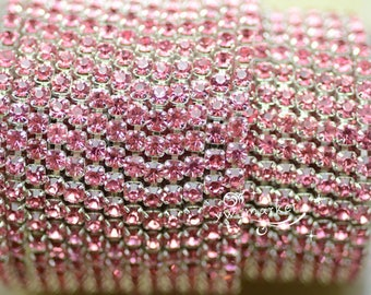 10 yard ss12 colour rhinestone close trim chain rose pink