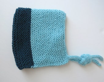 Handknitted Pixie hat for baby in wool - 2 shades of blue