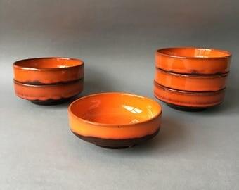 Vintage Fat Lava Bowls 6 Glazed Earthenware Orange Brown 70's Retro Kitchenware