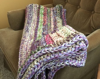 Multi-colored Striped Chunky Afghan Blanket Throw